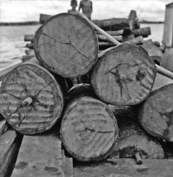 Desembarque de pau rosa no porto de Maués (AM) - maio. 1966