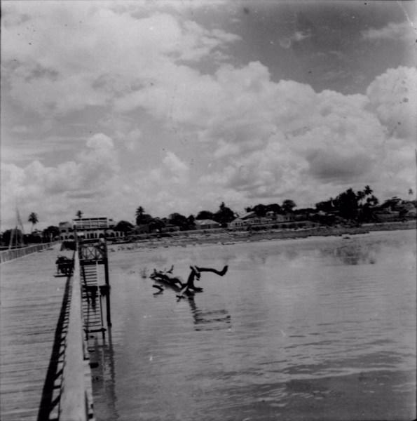 Vista parcial de Macapá, vendo-se o rio Amapari em Amapá (AP) - 1955
