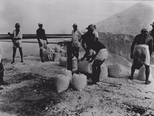 Pesagem do sal nas salinas do Rio Aracati em Aracati (CE) - maio. 1952