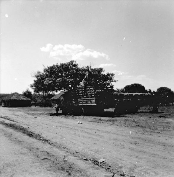 Caminhão transportando imigrantes de São Paulo para a Barra de Bugres em Mato Grosso (MT) - 1968