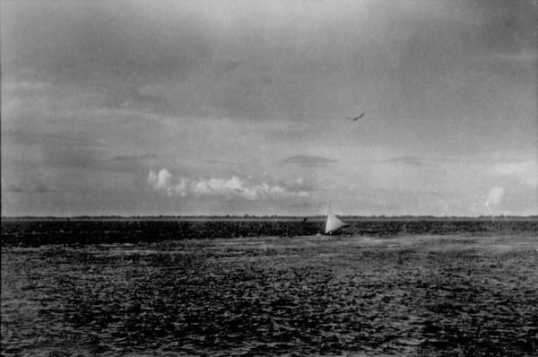 Barco a vela em frente à cidade de Santarém (PA) - fev.1954