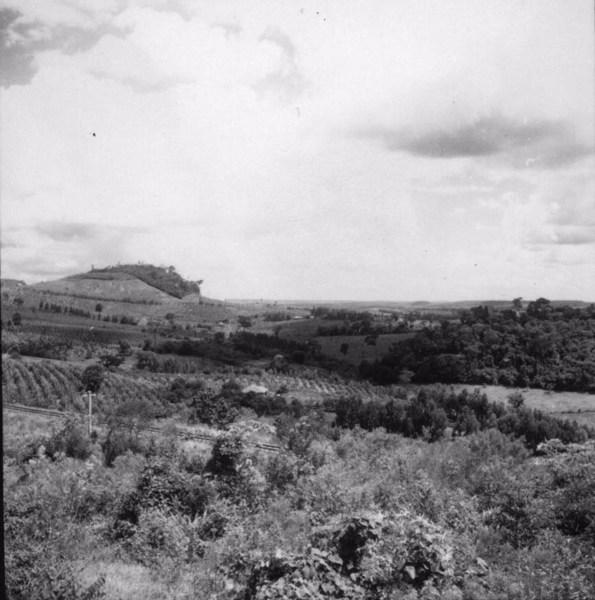 Aspecto do relevo em Califórnia, notando-se dois testemunhos do nível intermediário, um dos quais com capoeira : município de Califórnia (PR) - 1960
