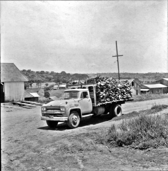 Caminhões de lenha da firma Luter : Município de Mangueirinha (PR) - 1965
