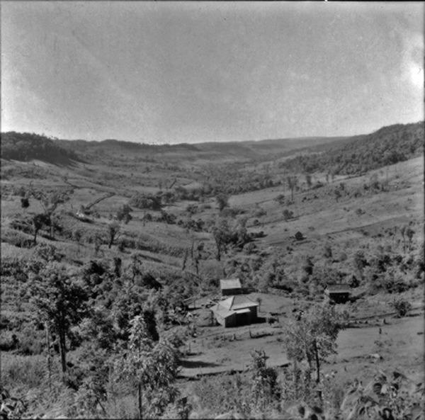 [Vista de um vale perto do Rio Uruguai, na direção sudoeste, vendo-se propriedades divididas (SC)] - 1965