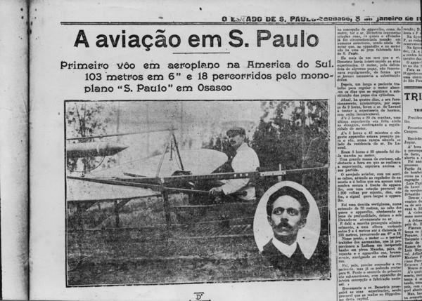 Aviação em São Paulo : primeiro vôo em aeroplano na América do Sul (SP) - 195_